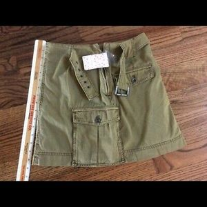 New Free people size 2 Cargo mini khaki skirt